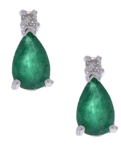 Marquee Jewels 14k White Gold Pear-shaped Emerald Earrings