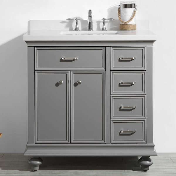 """Charlotte 36"""" Vanity in Grey without Mirror"""
