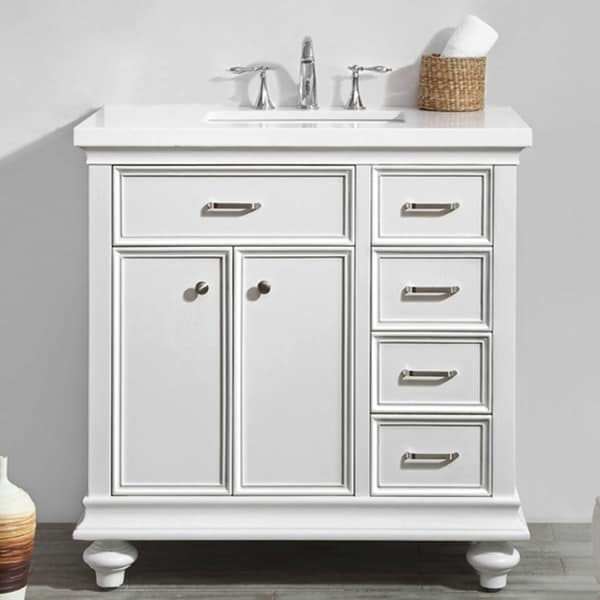 """Charlotte 36"""" Vanity in White without Mirror"""