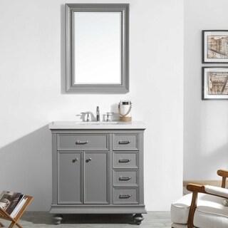 Charlotte Grey Oak Wood Veneer/Carrara Quartz Stone 36-inch Vanity