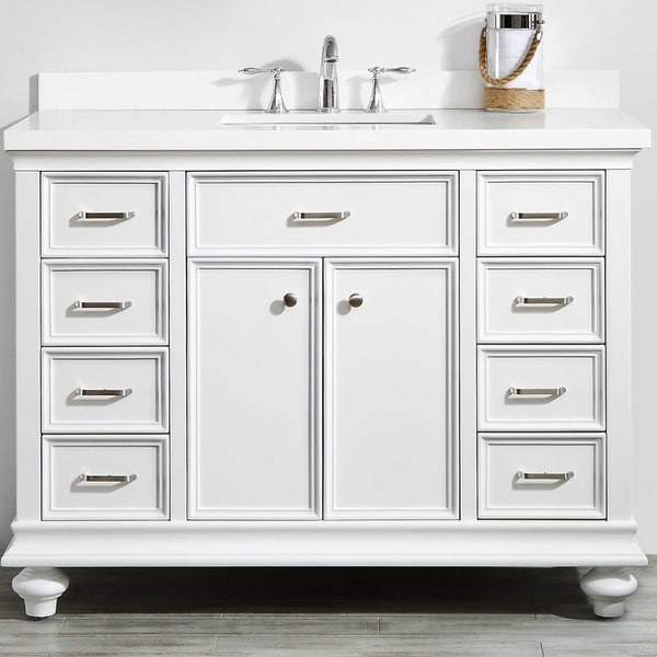 Charlotte White Wood 48 Inch Bathroom Vanity Without Mirror