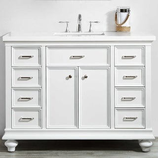 Charlotte White Wood 48-inch Bathroom Vanity without Mirror