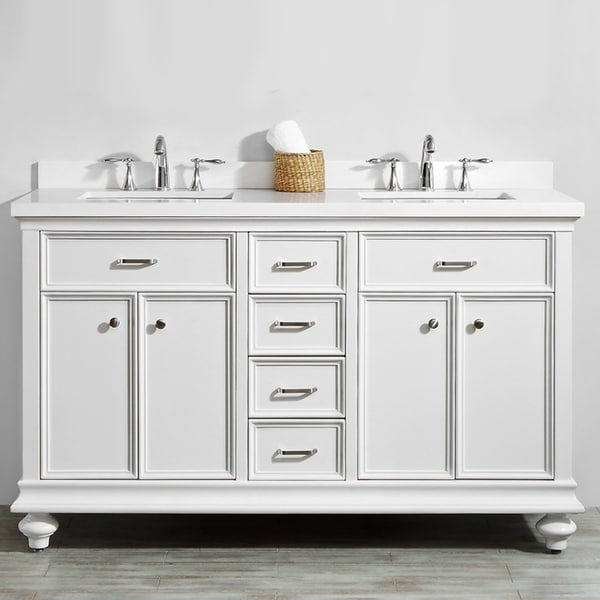 "Charlotte 60"" Double Vanity in White without Mirror"
