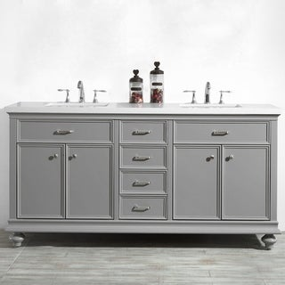 Charlotte Grey Wood 72-inch Double Vanity without Mirror