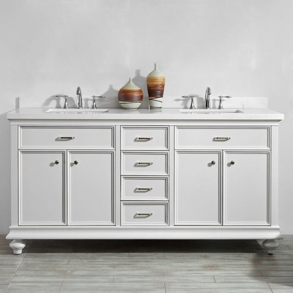 Charlotte White Stone/ Wood 72-inch Double Vanity