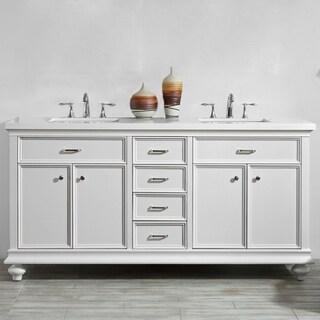 Charlotte White Stone/ Wood 72-inch Double Vanity