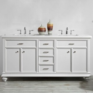 """Charlotte 72"""" Double Vanity in White without Mirror"""