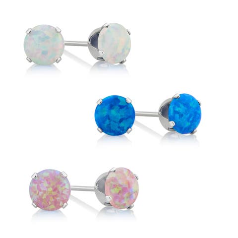 Divina Sterling Silver Blue, Pink and White Opal Stud Earring.