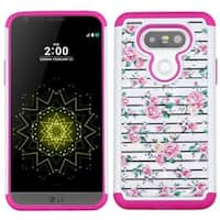 Insten Pink/ White Fresh Roses Hard PC/ Silicone Dual Layer Hybrid Rubberized Matte Case Cover with Diamond For LG G5