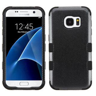 Insten Black Carbon Fiber Tuff Hard PC/ Silicone Dual Layer Hybrid Rubberized Matte Case Cover For Samsung Galaxy S7