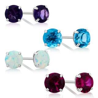 Divina 10K White Gold Amethyst, Blue Topaz, Opal and Ruby Gemstone Stud Earring.