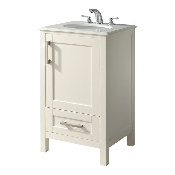 Wyndenhall Hartford 20 Inch Contemporary Bath Vanity In Soft White With Bombay White Engineered Quartz Marble Top On Sale Overstock 16690509