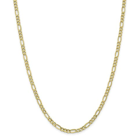 10K Yellow Gold Polished 4.4mm Semi-solid Figaro Chain by Versil