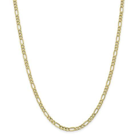 Versil 10 Karat Yellow Gold 4.4mm Semi-Solid Figaro Chain