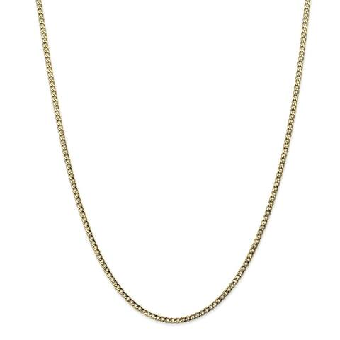 Versil 10 Karat Yellow Gold 2.5mm Semi-Solid Curb Link Chain