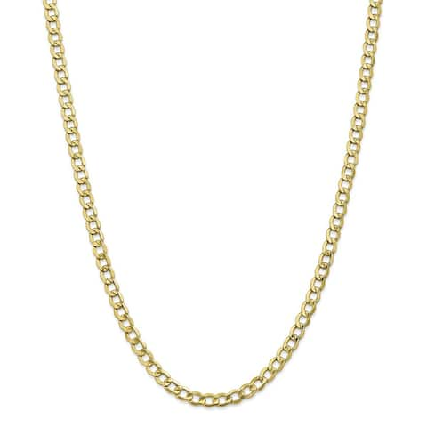 10K Yellow Gold Polished 5.25mm Semi-Solid Curb Link Chain by Versil