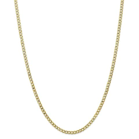 Versil 10 Karat Yellow Gold 3.35mm Semi-Solid Curb Link Chain
