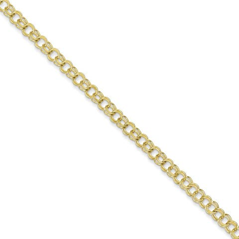 10K Yellow Gold Polished Double Link Charm Bracelet by Versil