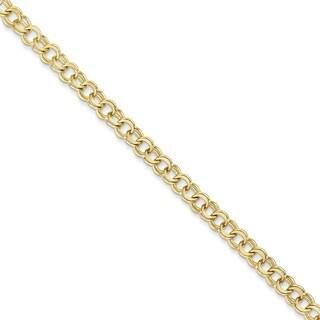 10 Karat Solid Double Link Charm Bracelet