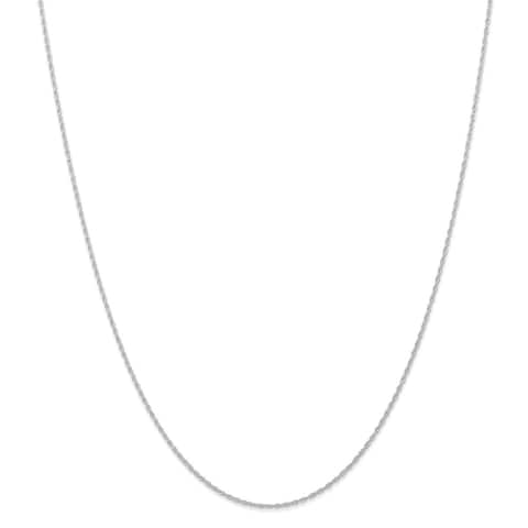Versil 10 Karat White Gold .95 mm Carded Cable Rope Chain