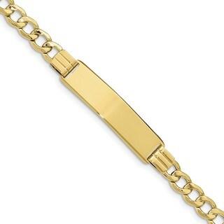 10 Karat Semi-solid Curb Link ID Bracelet
