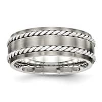 Stainless Steel Brushed With Silver Double Twist Inlay Ring