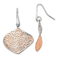 Sterling Silver Rose and White Polished Textured Earrings, By Versil
