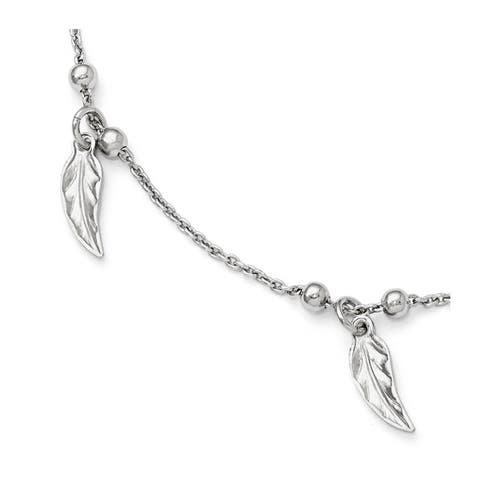 Versil Sterling Silver Polished Feather Anklet With 1in Extension