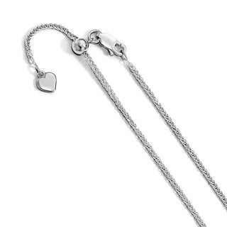 Versil Sterling Silver Diamond-cut 11in Adjustable Wheat Chain