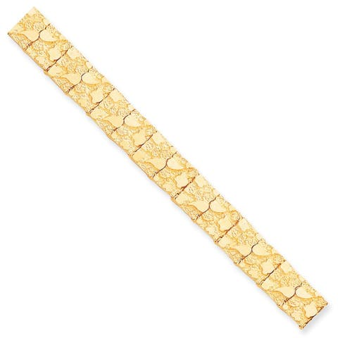 10K Yellow Gold 12mm Polished NUGGET 7 Inch Bracelet by Versil