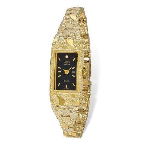 10 Karat Black 15x31mm Dial Rectangular Face Nugget Watch by Versil