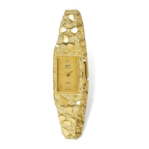 10K Yellow Gold Champagne 15x31mm Dial Rectangular Face Nugget Watch by Versil