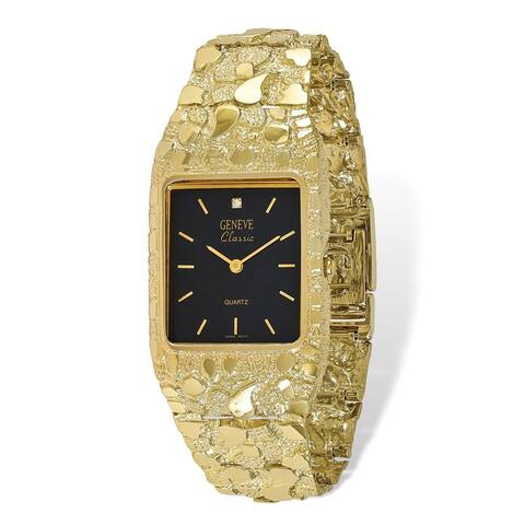 10K Yellow Gold Black 27x47mm Dial Square Face Nugget Watch by Versil