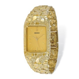 10 Karat Champagne 27x47mm Dial Square Face Nugget Watch