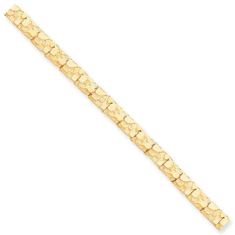 10K Yellow Gold 7mm Polished NUGGET 8 Inch Bracelet by Versil