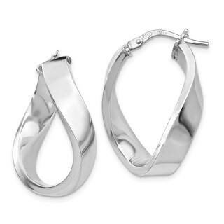 Sterling Silver Polished Twisted Hoop Earrings, By Versil