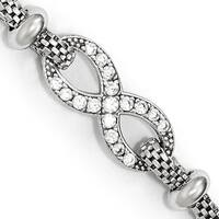 Sterling Silver CZ Infinity With 1.5in ext. Bracelet