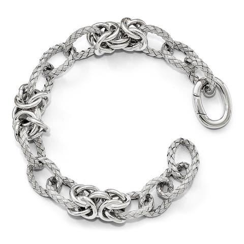 Versil Sterling Silver Polished Textured Bracelet - Hidden Clasp