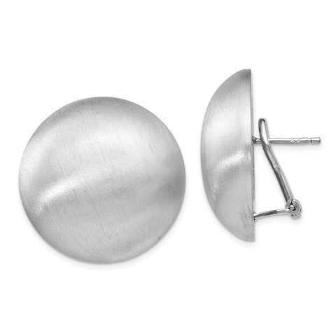 Versil Sterling Silver Polished Scratch-finish Omega Back Earrings