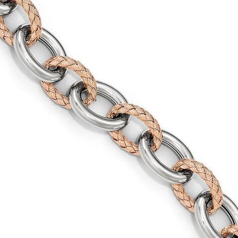Versil Sterling Silver Rose-tone Polished and Woven Link Bracelet-Fancy Spr