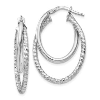 Sterling Silver Polished Diamond Cut Oval Hoop Earrings, By Versil|https://ak1.ostkcdn.com/images/products/16690755/P23009085.jpg?impolicy=medium