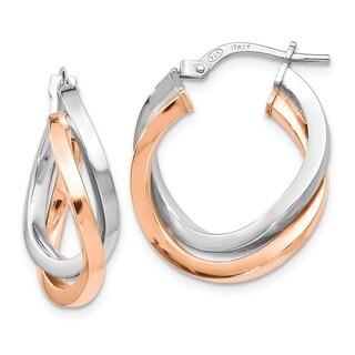 Sterling Silver Rose-tone Polished Hoop Earring, By Versil