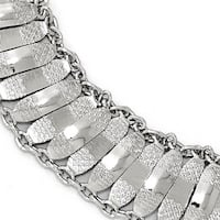 Sterling Silver Polished and Textured Fancy Bracelet