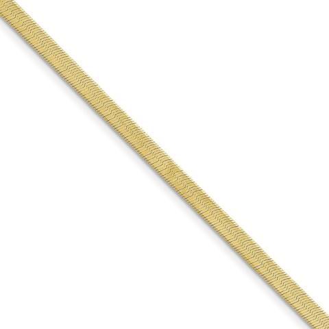 10K Yellow Gold 4mm Solid Silky Herringbone Chain by Versil