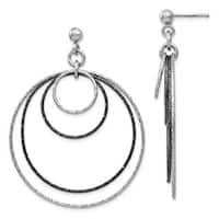 Sterling Silver and Ruthenium Plated Diamond-cut Post Hoop Earrings, By Versil