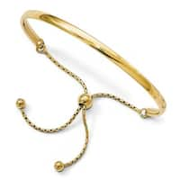 Sterling Silver Gold-plated Polished Adjustable  Bangle