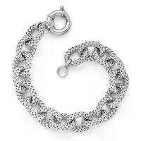 Sterling Silver Polished Textured Link Bracelet