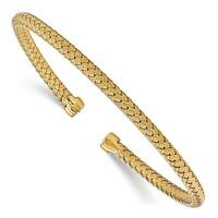 Sterling Silver Gold-plated Polished Woven Cuff Bangle