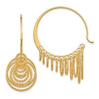 Sterling Silver and Gold-plated Polished and Laser-cut Hoop Earrings, By Versil