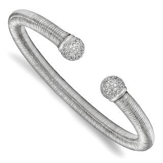 Sterling Silver & Rhodium CZ Textured Cuff Bangle